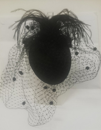 Black feather and net facinator - made in Australia