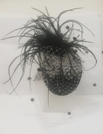 Black feather facinator with white and black dot netting  - made in Australia