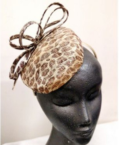 Leopard print sinamay facinator - made in Australia