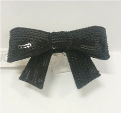 Profile Black sequin bow ring - free size