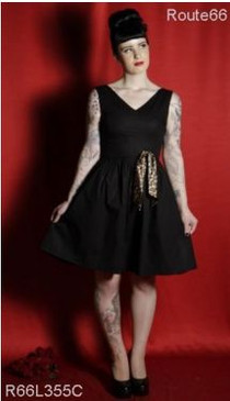 Route 66 'Candy store' back sateen dress with leopard bow