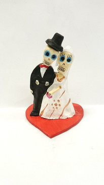 Day of the dead bride & groom cake topper