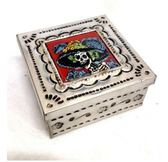 Day of the dead metal box with skeleton print