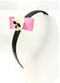 Sourpuss Pink bow and skull head band