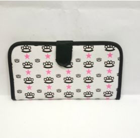 White  card holder wallet with knuckle duster and stars print front