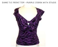 Dame tie front top - purple zebra with studs