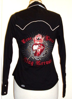 King Kerosin girls western shirt long sleeve - back heart embroidery