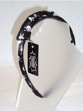 Black skull head band with bow