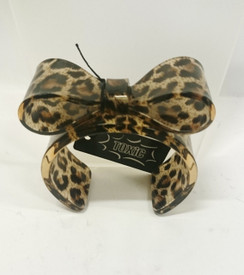 Brown and Tan leopard print plastic cuff with hard bow