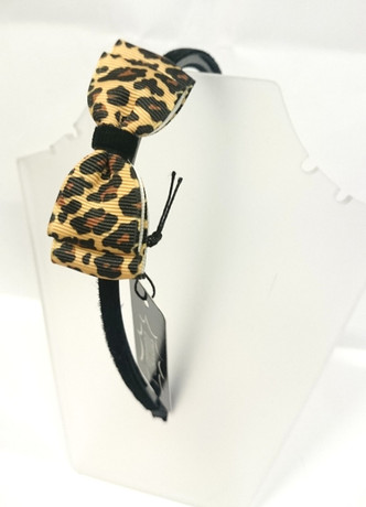 Brown leopard bow on black head band