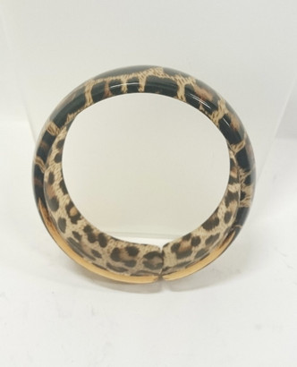 Brown/Tan leopard plastic hoop bangle