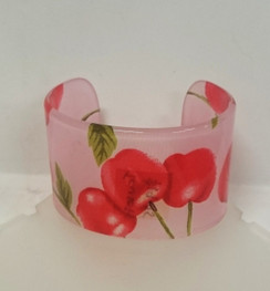 Cherry print hard plastic bangle in pink