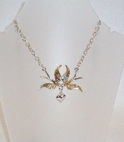 Diamontie birds & heart necklace