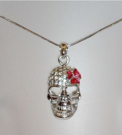 Diaomontie skull with red flower necklace