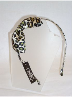 Green leopard head band with large bow