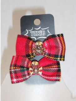 Red tartan bows with skull - pair