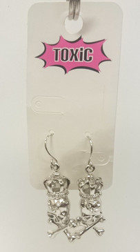 Skull and crossbones w crown diamante earrings