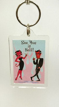 Retro See you in Hell key ring