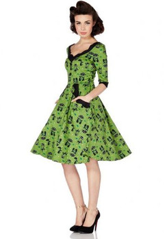 Katnis Cats in the rain green flare dress