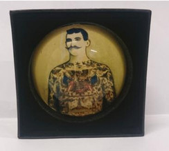 Vintage style tatooed man domed paperweight in presentation box