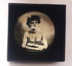 Vintage style tattooed woman domed paperweight in presentation box