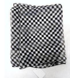 Black & white checkered print chiffon scarf