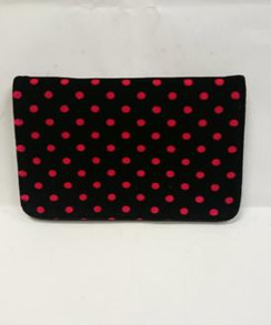 Black velvet with red polka dots wallet front