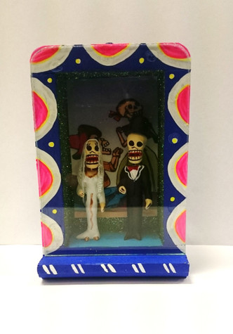 Bride and Groom Day of Dead Box with white and pink border