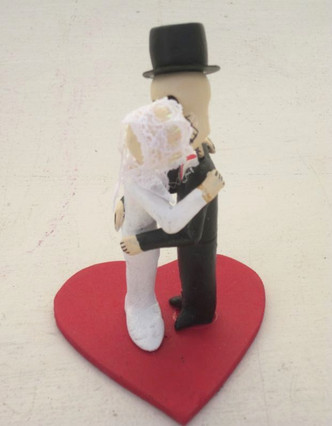 Day of the Dead Bride and Groom Kissing Cake topper