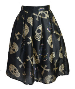 Darkstar Skull and Cross retro print skirt