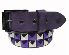 2 Row Check Silver/Metallic Purple 40MM Studded Belt - Non Leather