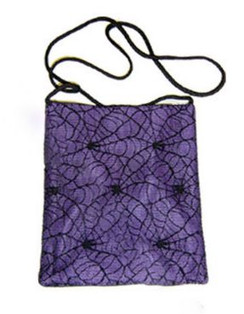 Darkstar Black passport bag with Purple Cobweb