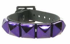 1 Row Metallic Purple pyramid leather wristband