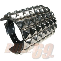 7 Row Pyramid Stud Leather wristband