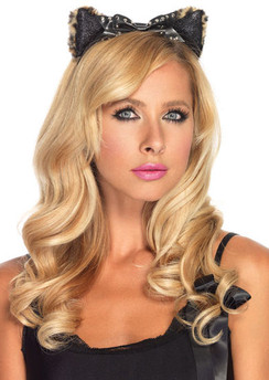 Leopard kitty ears headband with studded bow
