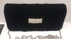 Black Velvet Purse with diamontie detail and chain shoulder strap
