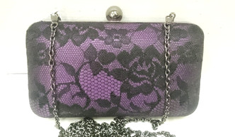 Purple and Black lace purse with chain shoulder strap