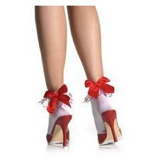Embroidered Hearts Ruffle Anklet sock with satin bow