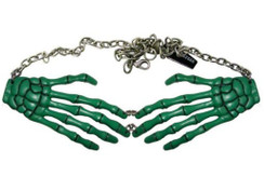 Green Skeleton Hands necklace