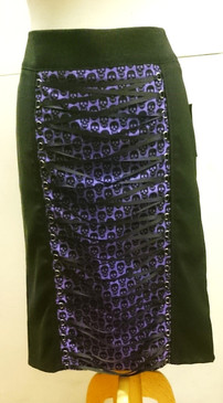 Black Leopard print wiggle skirt with Purple Skull print detail