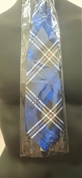 Blue Plaid Tie with Zip fastener