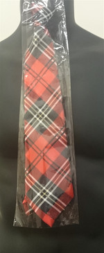 Red Plaid Tie with Zip fastener