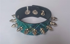 Green Plaid Cuff with 1 row of Cone Spikes