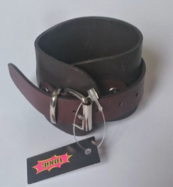 Brown Leather cuff with wraparound strap front