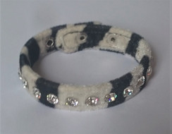 Black and White Zebra print Velvet cuff with 1 row of diamantes