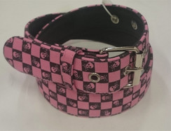 Pink and Black chequered skull print belt