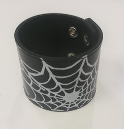 Black cuff with white spider web print