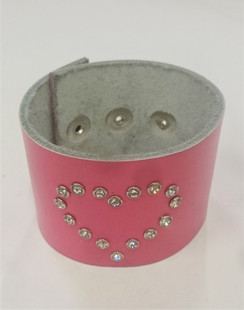 Pink  cuff with diamante heart