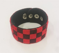 Black and Red chequered faux fur cuff