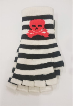 Black and White striped fingerless knitted gloves with red Skull and Crossbones